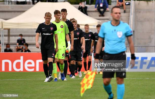 Midtjylland players walking into the pitch before the UEFA Youth League 2019/20 Quarter-final match between FC Midtjylland and AFC Ajax at Colovray...