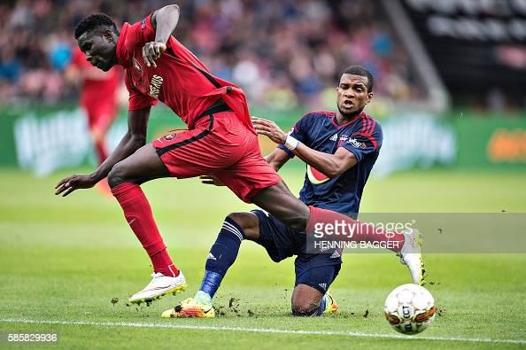 FC Midtjylland's Paul Onuachu and Videoton FC Loic Nego ...