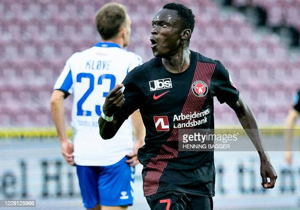 Midtjylland's Pione Sisto reacts after scoring the 3-1 goal during the 3F Superliga fotball match between FC Midtjylland against OB at the MCH Arena...