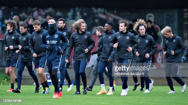 Midtjylland's players attend a training session in Herning, Denmark on November 2 on the eve of the UEFA Champions League Group D football match...