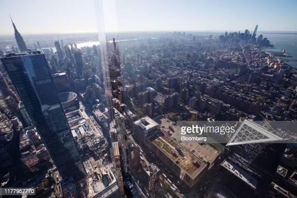 """Midtown and lower Manhattan are seen from the """"Edge"""" observation deck at 30 Hudson Yards during a media preview event in New York, U.S., on Thursday,..."""