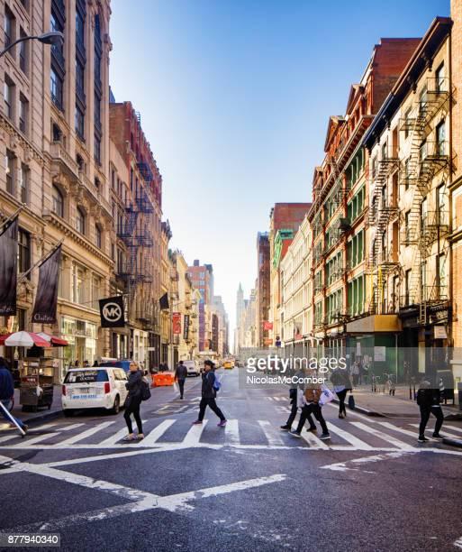 Midtown Broadway street scene on a sunny Autumn day