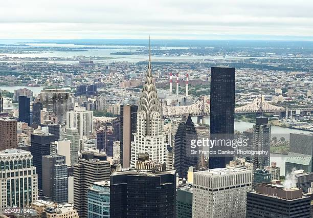 Midtown Manhattan aerial cityscape with Chrysler building, Trump World Tower, East river and Queensboro bridge, New York, USA
