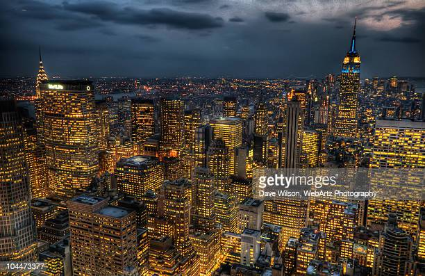 midtown manhattan at dusk - dave wilson webartz stock pictures, royalty-free photos & images