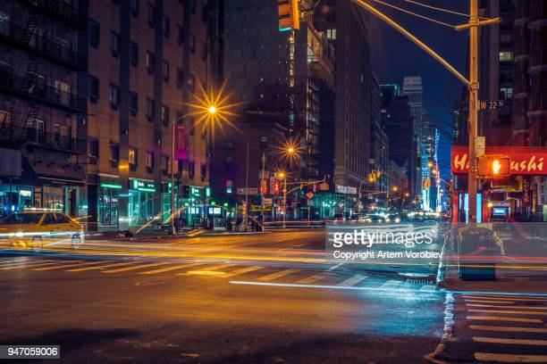 midtown manhattan at night - 7th avenue stock pictures, royalty-free photos & images