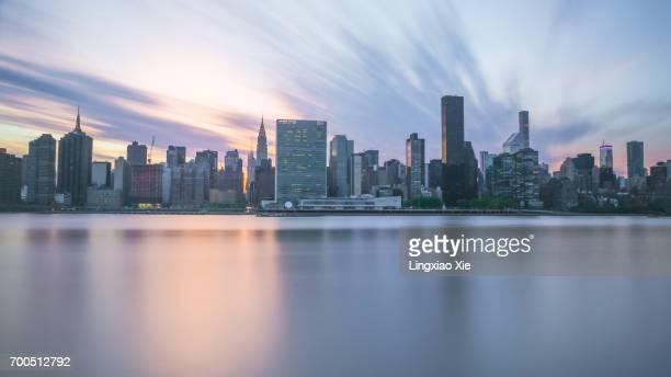 Midtown Manhattan skyline at dusk seen from Long Island City, New York