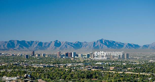 midtown phoenix skyline - phoenix arizona stock photos and pictures