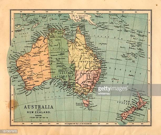 mid-viktorianischen karte von australien - längengrad stock-fotos und bilder