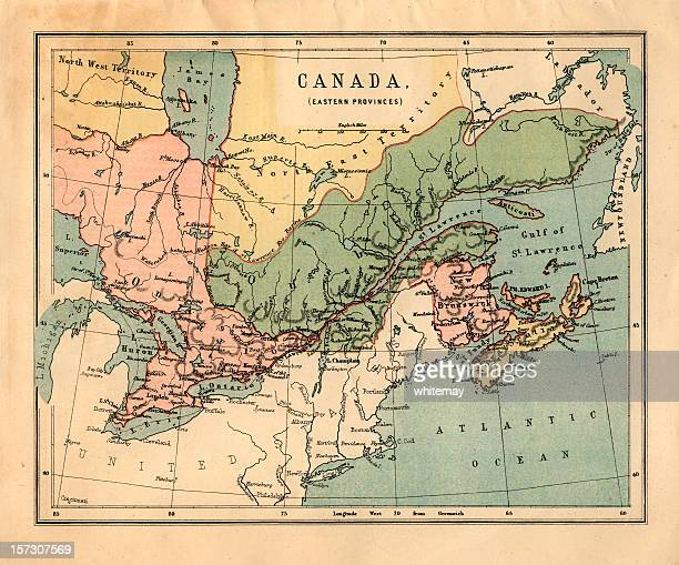 mid-victorian map of canadian eastern provinces - atlantic ocean stock pictures, royalty-free photos & images