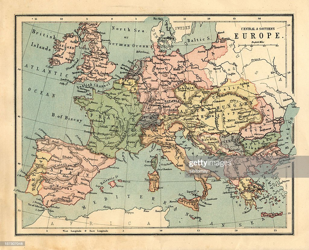 Midvictorian Map Of Central And Southern Europe Stock Photo - Map of southern europe