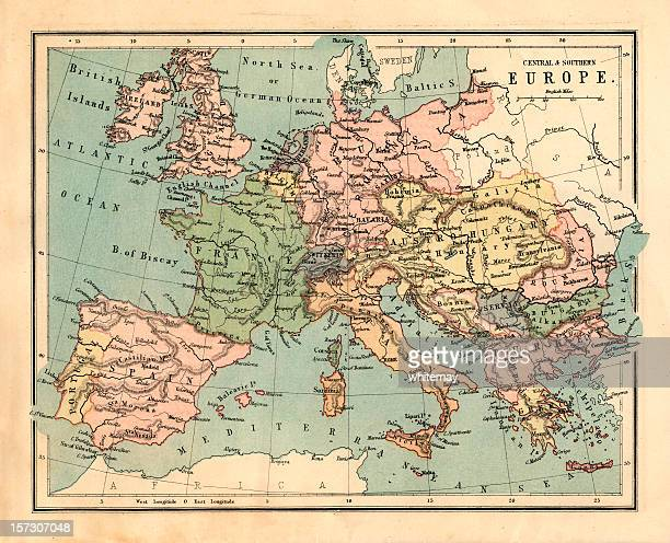Mid-Victorian map of Central and Southern Europe