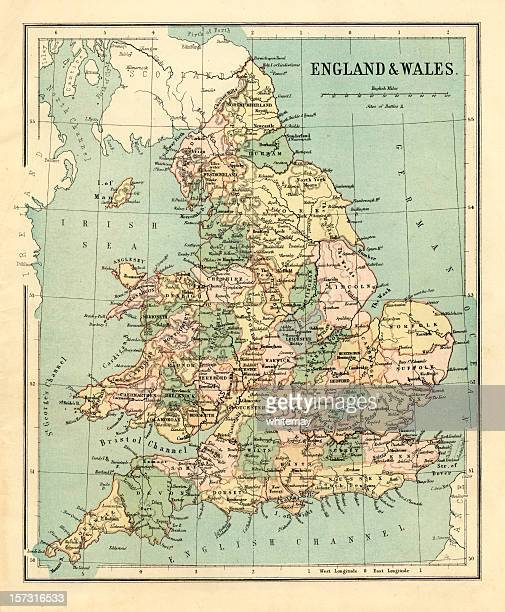 mid-victorian map of english and welsh counties - england stock pictures, royalty-free photos & images