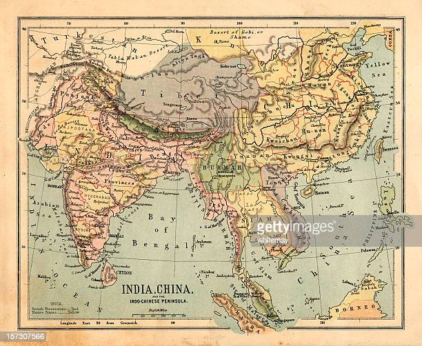 mid-victorian map of indo-china - british empire stock pictures, royalty-free photos & images