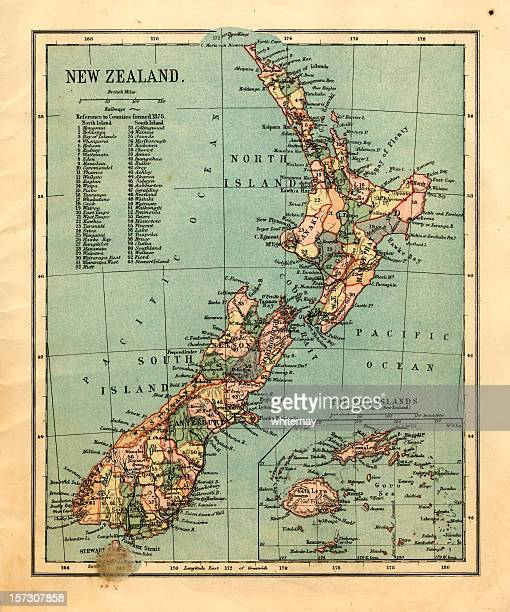 mid-victorian map of new zealand and fiji islands - wellington new zealand stock photos and pictures