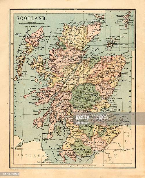 mid-victorian map of scotland - schotland stockfoto's en -beelden