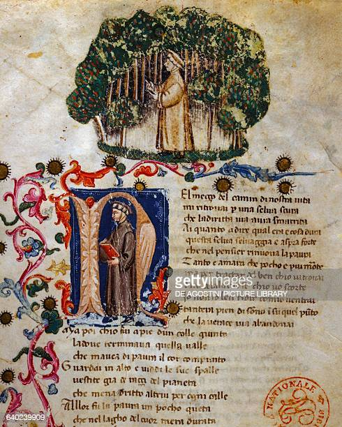 Midway upon the journey of our life I found myself within a forest dark Canto I Inferno Divine Comedy by Dante Alighieri illuminated page from the...