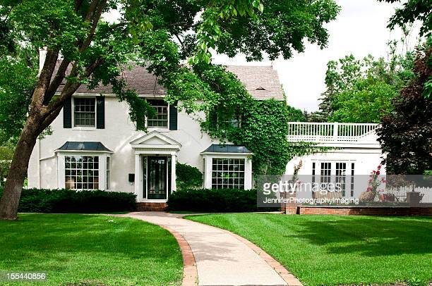 midwest colonial home - pedestrian walkway stock pictures, royalty-free photos & images