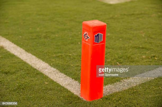 Midwest Conference endzone marker during the college football game between UC Davis Aggies and San Diego State University Aztecs on September 02 2017...