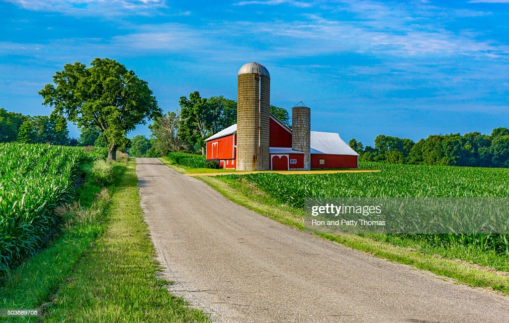 farm barn. Midwest Farm With Country Road And Red Barn (P)