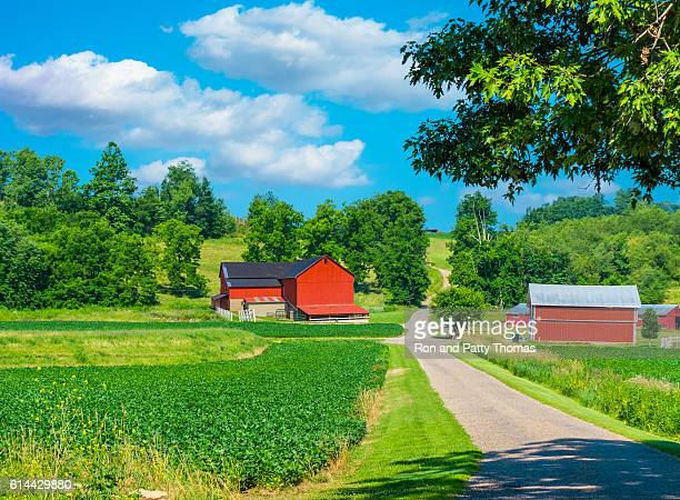 midwest farm with spring  crop and red barn,usa(p) - ohio stock photos and pictures