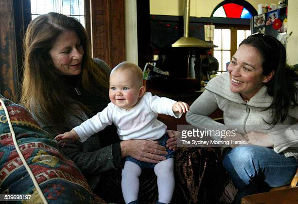 Midwife Shea Caplice with ninemonthold Cybella Macindoe whom she helped deliver and her mother Emma 15 August 2005 SMH Picture by PETER MORRIS