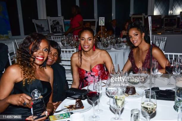Midwin Charles Mrs Charles Aisha McShaw and Rachelle Daglis attend the NOAH NY 10th Anniversary Gala at Brooklyn Botanic Gardens on May 22 2019 in...
