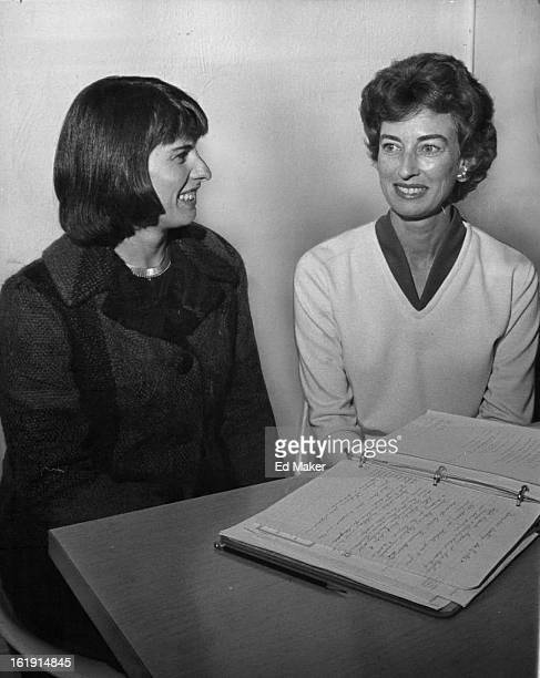 JAN 10 1963 MidWinter Ball Set for Denver Hilton Mrs George Cannon left ball chairman and Mrs John Gulick cochairman discuss plans for Junior League...