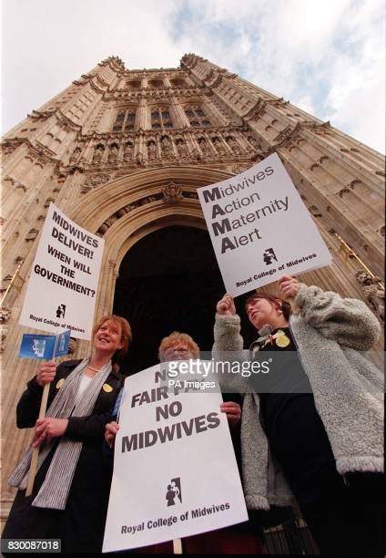 Midwives Carolyn Hay Ann O'Donoghue both from Horsham in Sussex and Claire Welsh from the Edgware Birth Centre in Edgware who turned up in force at...