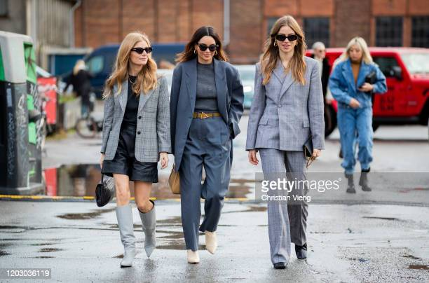 Mie Jul, Funda Christophersen and Trine Kjaer wearing grey suit seen outside Rodebjer during Copenhagen Fashion Week Autumn/Winter 2020 Day 3 on...