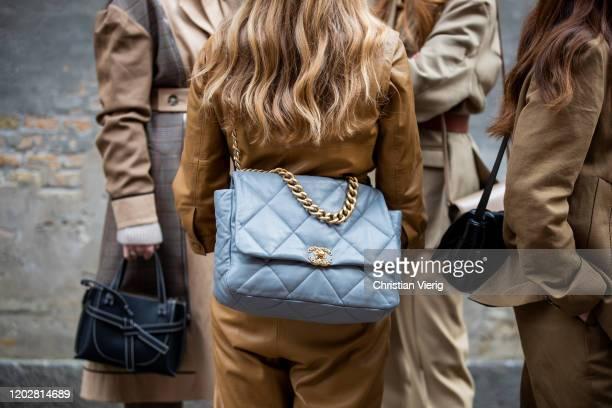 Mie Jul is seen wearing oversized Chanel bag outside Mark Kenly Domino Tanduring Copenhagen Fashion Week Autumn/Winter 2020 Day 2 on January 29, 2020...