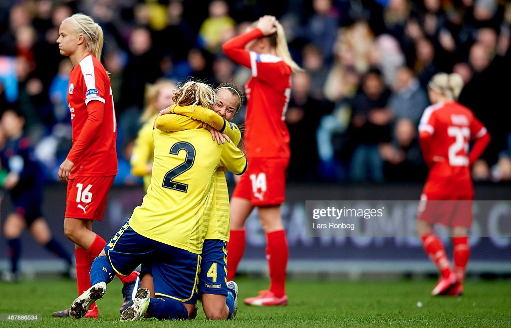 Mie Leth Jans of Brondby IF and team mate Rikke Lantver ...