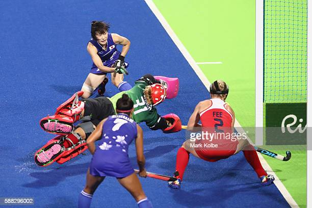 Mie Nakashima of Japan scores a goal during the women's pool B match between the United States and Japan on Day 5 of the Rio 2016 Olympic Games at...