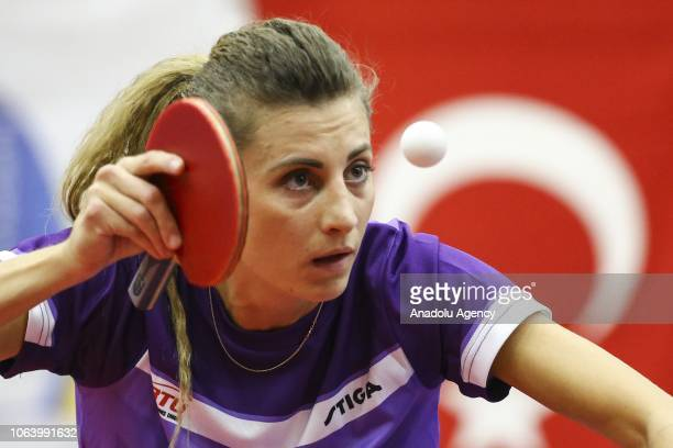 Mie Skov of Denmark in action against Betul Nur Kahraman of Turkey during women's singles table tennis match on last day of B2 Group within the 2019...
