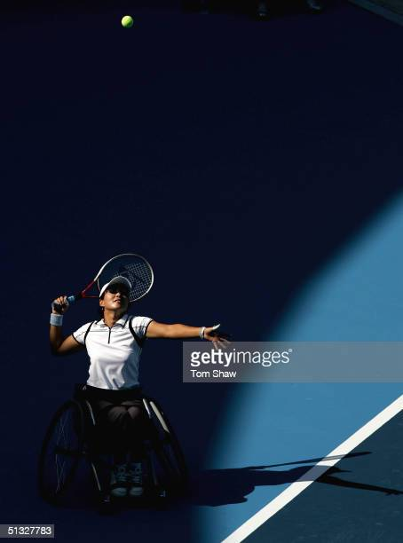 Mie Yaosa of Japan serves during the Women's Singles 1st round match for the Athens 2004 Paralympic Games on September 20 2004 at the Olympic Tennis...