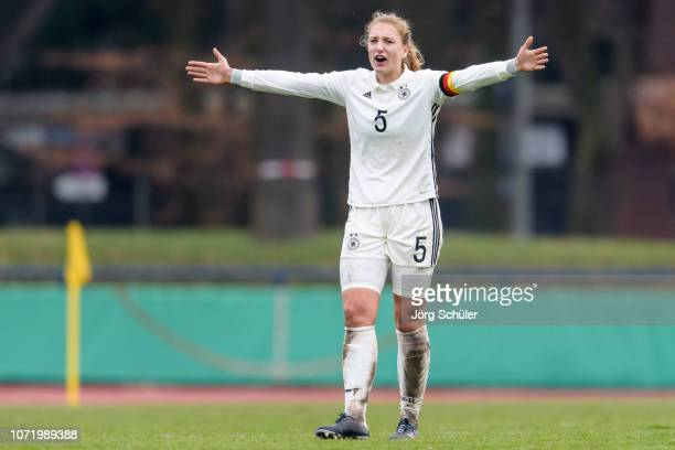 Mieke Schiemann of Germany during the U17 Girl's international friendly match between Germany and Netherlands at the Sportpark on December 12 2018 in...