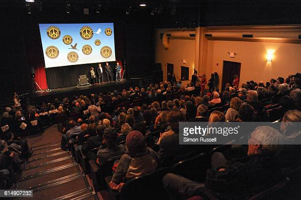 Miera Blaustein Michael Mailer Alec Baldwin and John Buffalo Mailer on stage at the Blind premiere at the Woodstock Playhouse on October 13 2016 in...