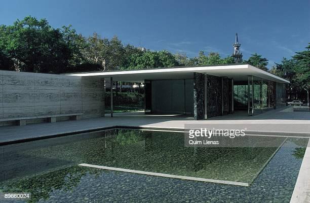 Mies Van de Rohe ´s pavilion Panoramic view of the Mies Van de Rohe ´s pavilion Barcelona