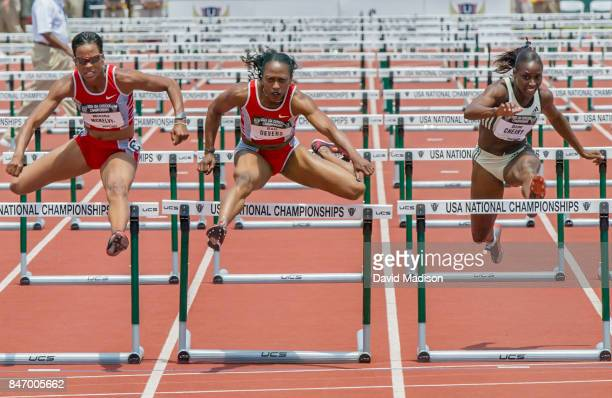 Miesha McKelvyJones Gail Devers and Damu Cherry run the final of the 100 meter hurdles event of the USA Outdoor Track and Field Championships on June...