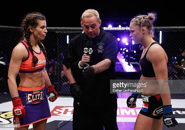 Miesha Tate and Ronda Rousey face off before their bantamweight championship fight during the Strikeforce event at Nationwide Arena on March 3, 2012...