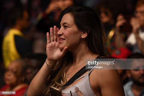 Miesha Tate cheers the fights during the UFC 226 event inside TMobile Arena on July 7 2018 in Las Vegas Nevada
