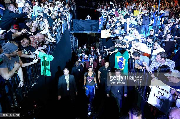 Miesha Tate enters the arena prior to her bout against UFC Women's Bantamweight Champion Ronda Rousey during the UFC 168 event at the MGM Grand...