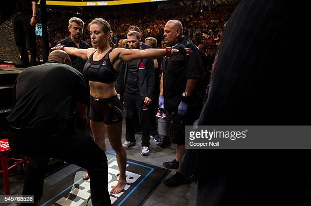 Miesha Tate prepares to enter the Octagon against Amanda Nunes during UFC 200 at TMobile Arena on July 9 2016 in Las Vegas Nevada