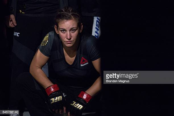 Miesha Tate prepares to walk to the Octagon to face Amanda Nunes of Brazil during the UFC 200 event on July 9 2016 at TMobile Arena in Las Vegas...