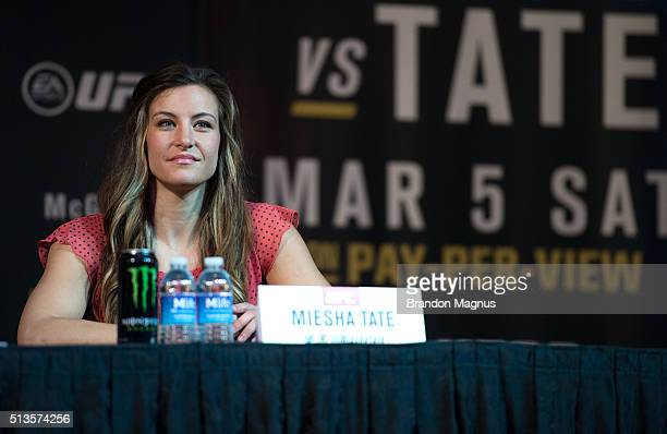 Miesha Tate speaks to the media during the UFC 196 Press Conference at David Copperfield Theater in the MGM Grand Hotel/Casino on March 3, 2016 in...