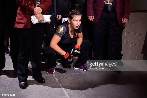 Miesha Tate walks to the Octagon to face Amanda Nunes of Brazil during the UFC 200 event on July 9, 2016 at T-Mobile Arena in Las Vegas, Nevada.