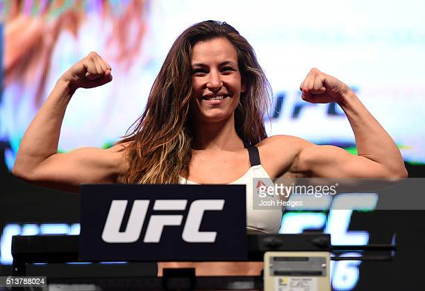 Miesha Tate weighs in during the UFC 196 Weigh-in at the MGM Grand Garden Arena on March 4, 2016 in Las Vegas, Nevada.