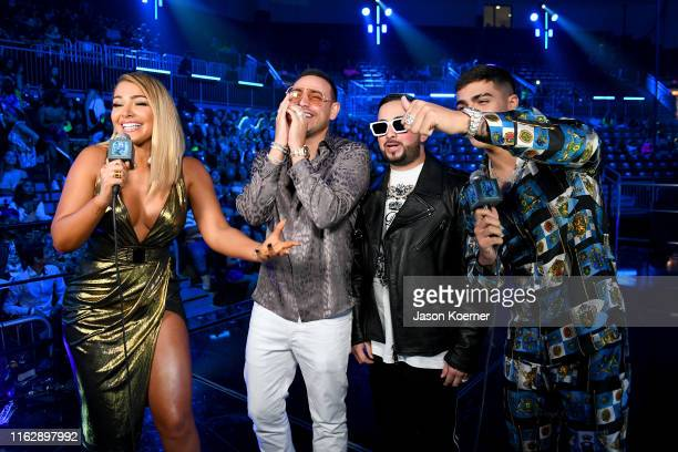 MIgbelis Castellano Chris Jeday Gaby Music and Lunay speak on stage during Premios Juventud 2019 at Watsco Center on July 18 2019 in Coral Gables...