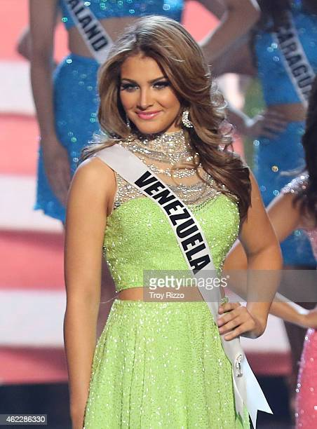 Migbelis Lynette Castellanos is seen on stage during The 63rd Annual Miss Universe Pageant at Florida International University on January 25 2015 in...