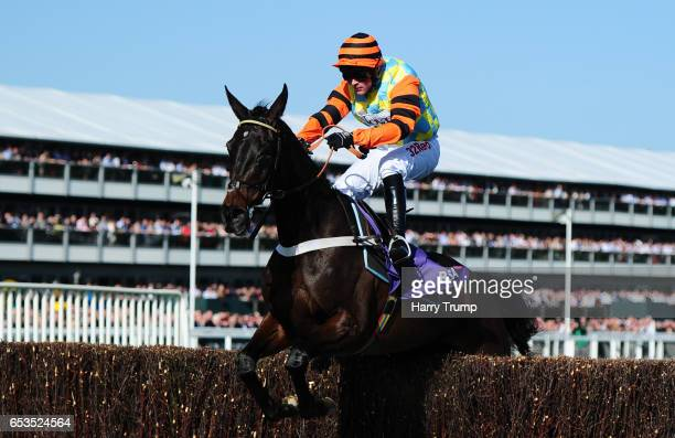 Might Bite ridden by Nico De Boinville jump the last to win the RSA Novices Steeple Chase during Ladies Day of the Cheltenham Festival at Cheltenham...