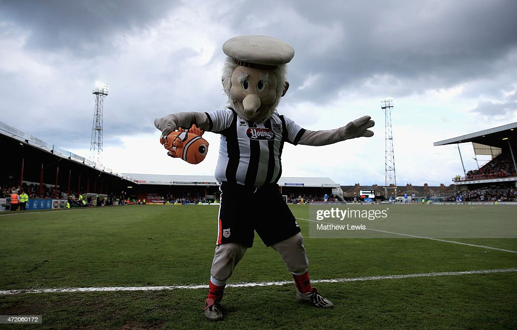 Mighty Mariner the Grimsby Town mascot pictured during the Vanarama Football Conference League match between Grimsby Town and Eastleigh FC at Blundell Park on May 3, 2015 in Grimsby, England.